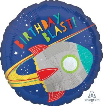 "17"" Blast Off Birthday Foil Balloon - Flat - Anagram"