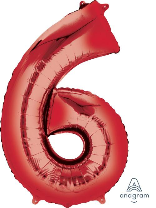 Supershape Red Number 6 Balloon - Anagram