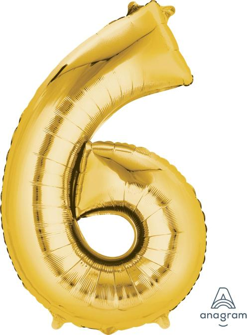 Supershape Gold Number 6 Balloon - Anagram