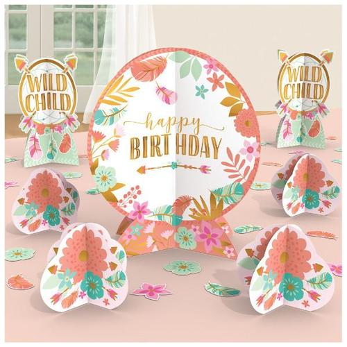 Boho Birthday Girl Table Centerpiece Decorating Kit - Amscan