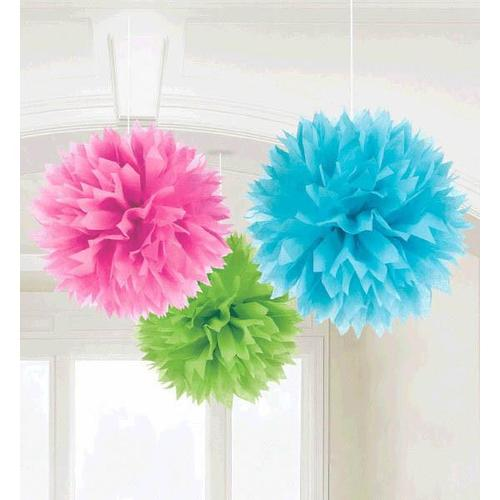 Multi Fluffy Decorations 3ct - Amscan