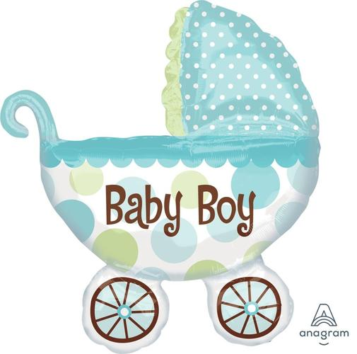 "Supershape Baby Buggy Boy 31"" Balloon - Anagram"