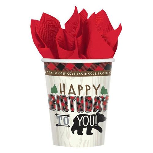 Little Lumberjack Birthday Cups 8ct - Amscan