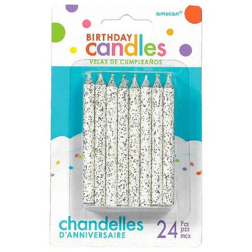 Candles Large Glitter Spiral White - PARTY SUPPLY