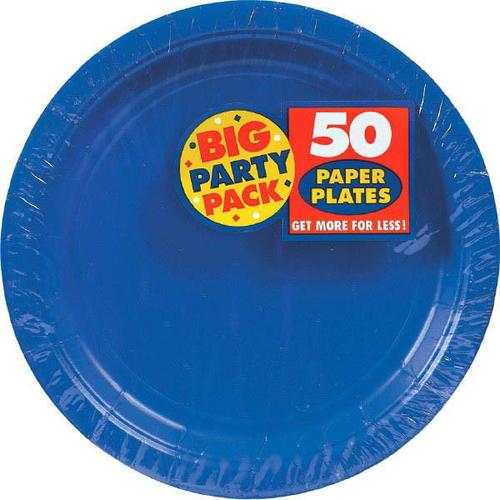 "Bright Royal Blue 7"" Paper Plates 50ct - Amscan"