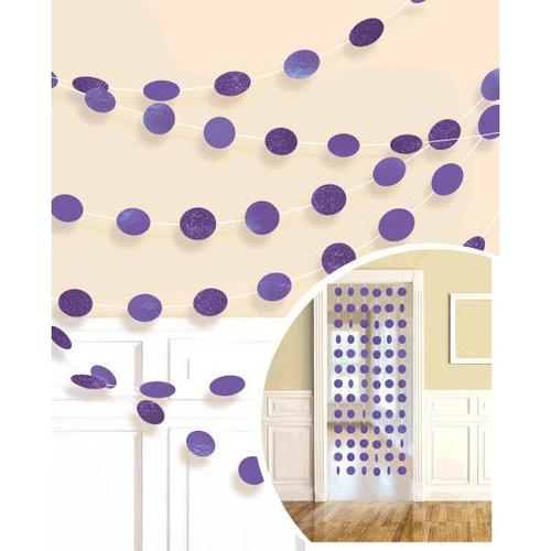 New Purple Round Glitter String Decorations - Amscan