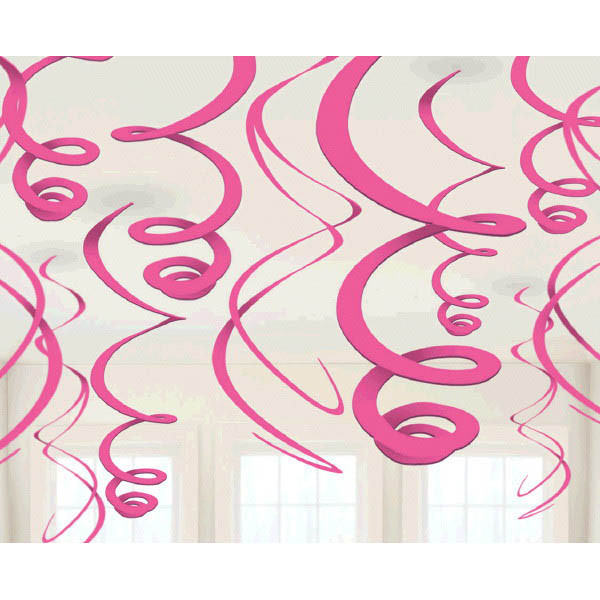 Bright Pink Plastic Swirl Decorations 12ct - Amscan
