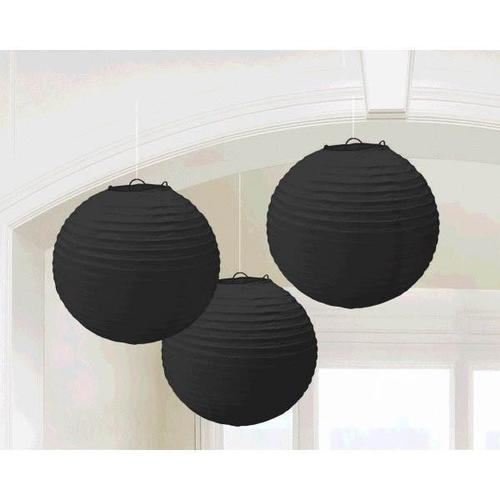 Jet Black Round Paper Lanterns 3ct