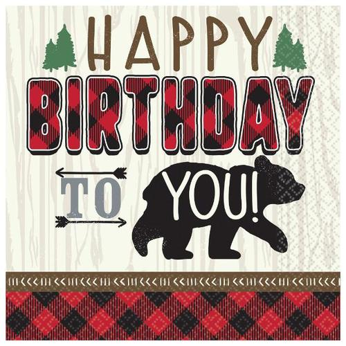 Little Lumberjack Birthday Beverage Napkin 16ct - Amscan