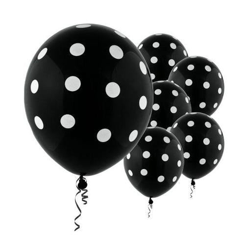 Latex Balloons Black Dots All Over Print 6ct - Amscan