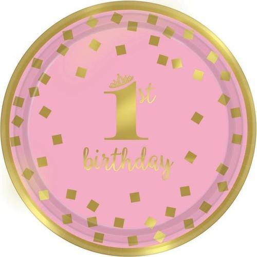 "1St Bday Pink 7"" Round Plate - Amscan"