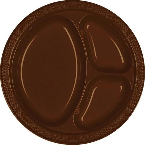 "Chocolate Brown 10 1/4"" Divided Plastic Plates - Amscan"