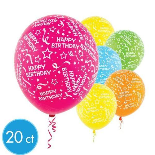 Latex Balloons Birthday Confetti Bright All Over Print 20ct - Amscan