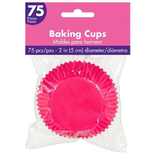 Cupcake Cases Bright Pink 75ct - Amscan