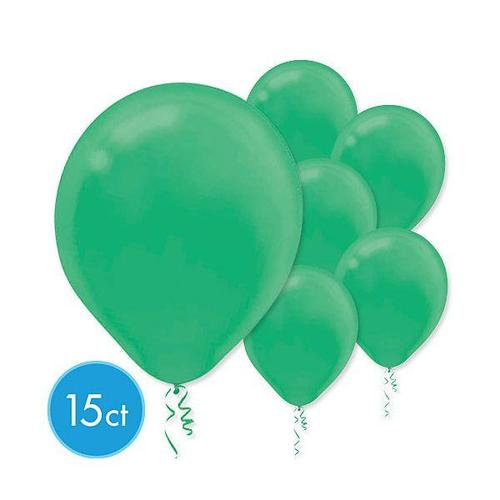 Latex Balloons 15ct Festive Green - Amscan