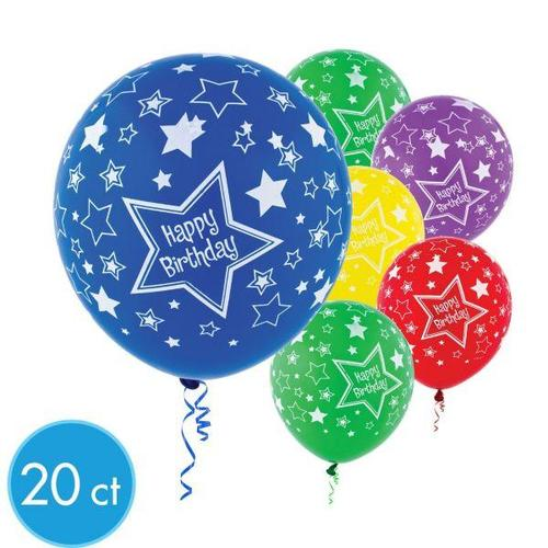 Latex Balloons Birthday Stars All Over Print 20ct