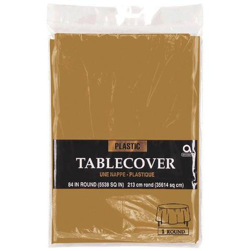 "Gold 84"" Round Plastic Table Cover"
