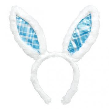 Easter Bunny Ears Blue Plaid