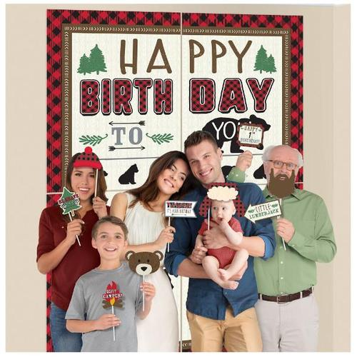 Little Lumberjack Birthday Scene Setter with Photo Props - Amscan