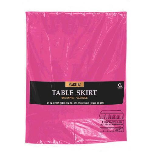 Bright Pink Plastic Table Skirt - Amscan