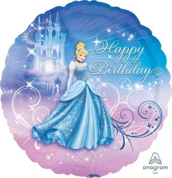"18"" Cinderella Happy Birthday Foil Balloon - Flat"