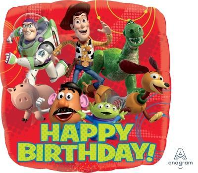 "17"" Toy Story Gang Happy Birthday Foil Balloon - Flat - Anagram"