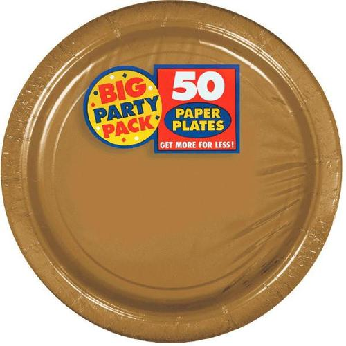 "Gold 7"" Paper Plates 50ct - Amscan"