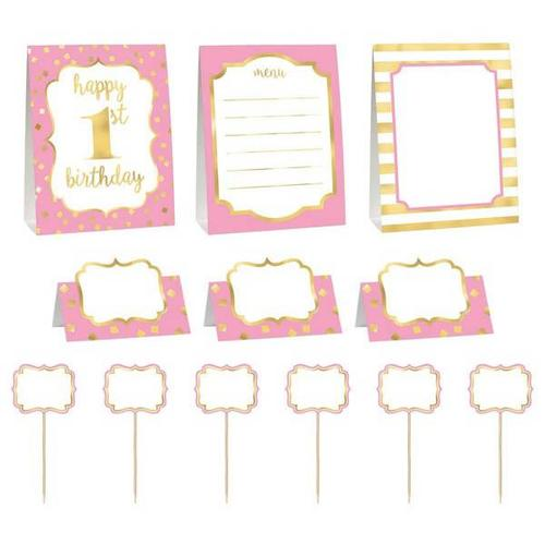 1St Bday Pink Buffet Deco Kit - Amscan