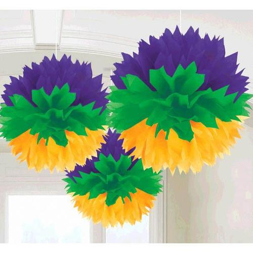Mardi Gras Fluffy Decorations 3ct - Amscan