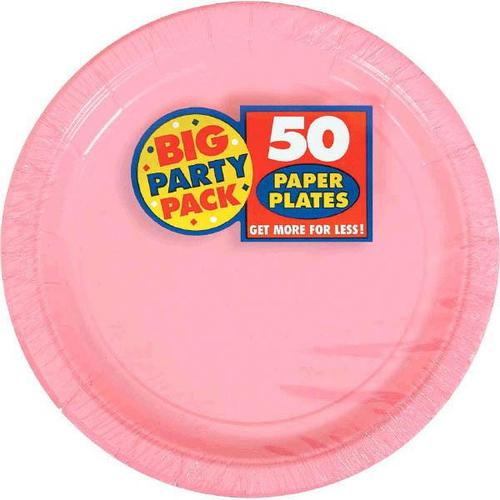 "New Pink 7"" Paper Plates 50ct - Amscan"