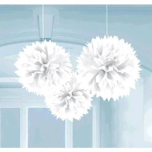 Frosty White Fluffy Decorations 3ct - Amscan