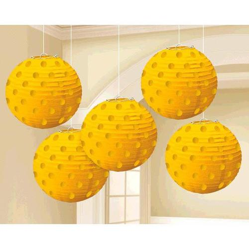 Yellow Sunshine Hot Stamp Lanterns 5ct - Amscan