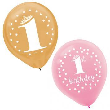1st Birthday Pink Latex Balloons 15ct - Amscan