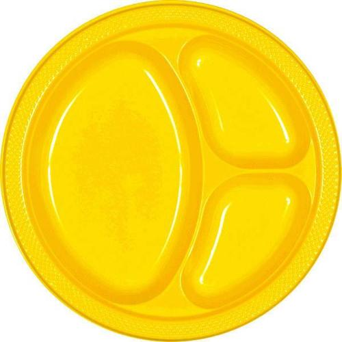"Yellow Sunshine 10 1/4"" Divided Plastic Plates - Amscan"
