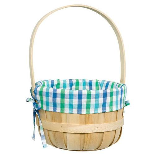 Easter Basket Round Wood Chip w/Liner Blue