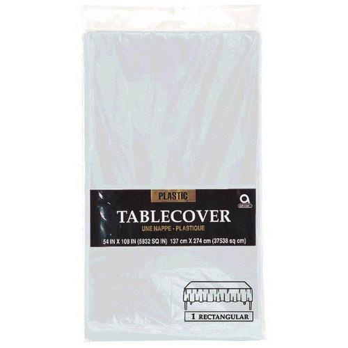 "Silver 54""x108"" Rectangular Plastic Table Cover - Amscan"