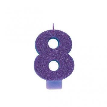 Glitter Candle #8 Purple - Amscan