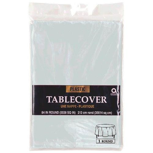 "Silver 84"" Round Plastic Table Cover - Amscan"