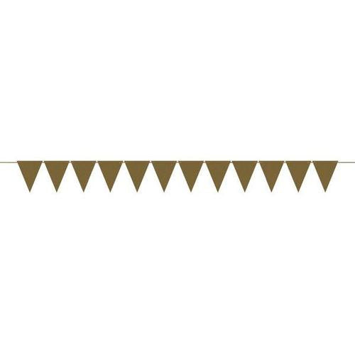 Mini Paper Pennant Banner Gold - Amscan