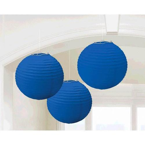 Bright Royal Blue Round Paper Lanterns 3ct