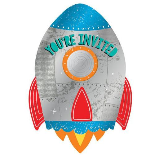 Blast Off Birthday Invitations 8ct - Amscan