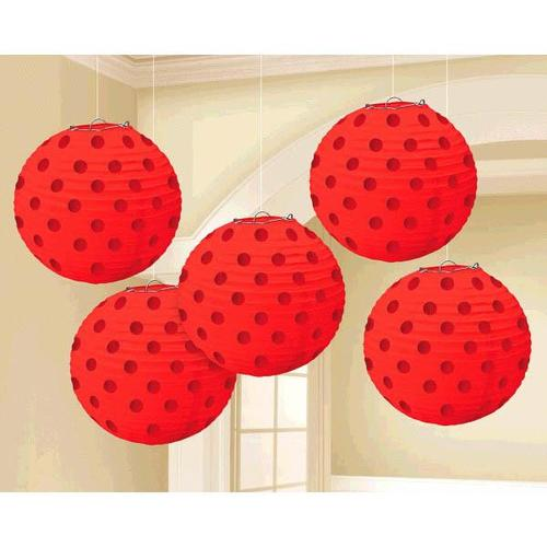 Apple Red Hot Stamp Lanterns 5ct - Amscan