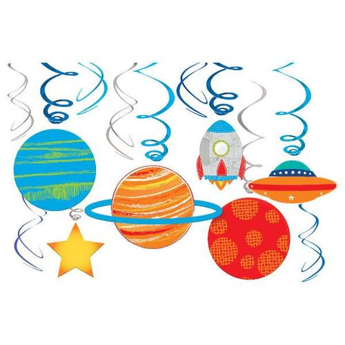 Blast Off Birthday Swirl Decorations 12ct - Amscan