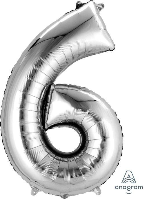Supershape Silver Number 6  Balloon - Anagram