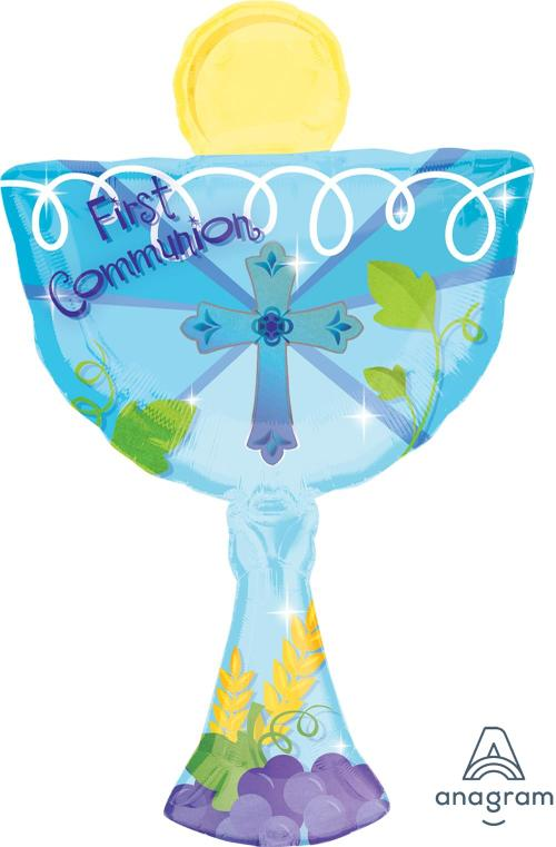 "Supershape 1st Communion Blue Chalice 31"" Balloon"