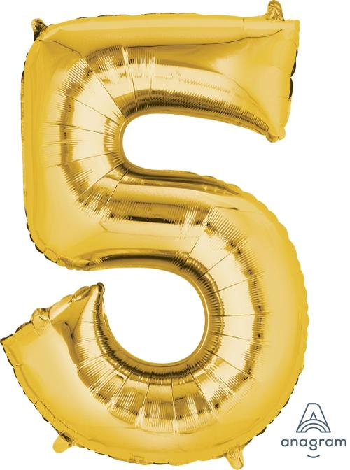 Supershape Gold Number 5  Balloon - Amscan