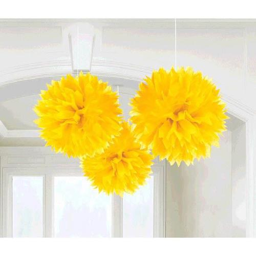 Yellow Sunshine Fluffy Paper Decorations 3ct - Amscan