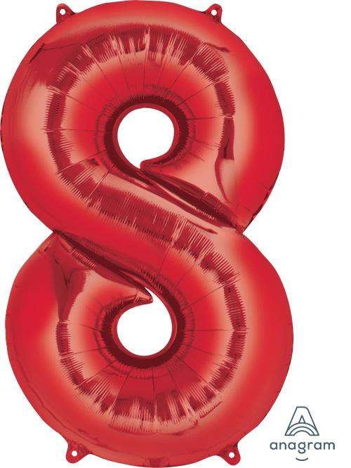 Supershape Red Number 8 Balloon - Anagram