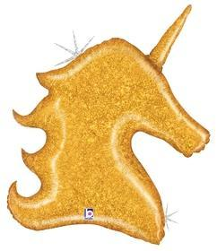"Supershape Gold Glitter Unicorn 38"" Balloon - Betallic"