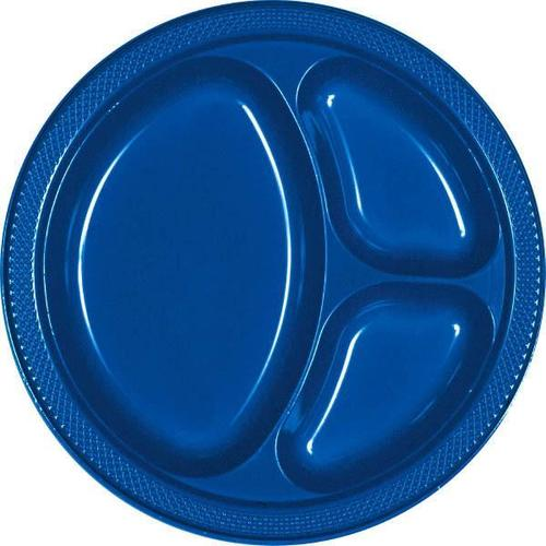 "Bright Royal Blue 10 1/4"" Divided Plastic Plates 20ct"